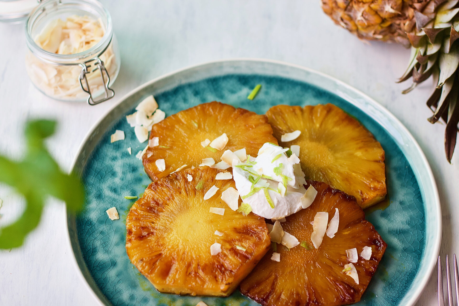 Grilled Pineapple with Coconut Cream and Lime Zest - Zest and The City
